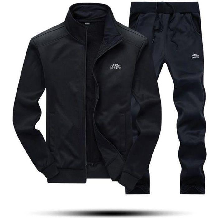 Automne Hiver Tops Sweat solide Pantalons pour hommes Ensembles sport Survêtement Suit Noir