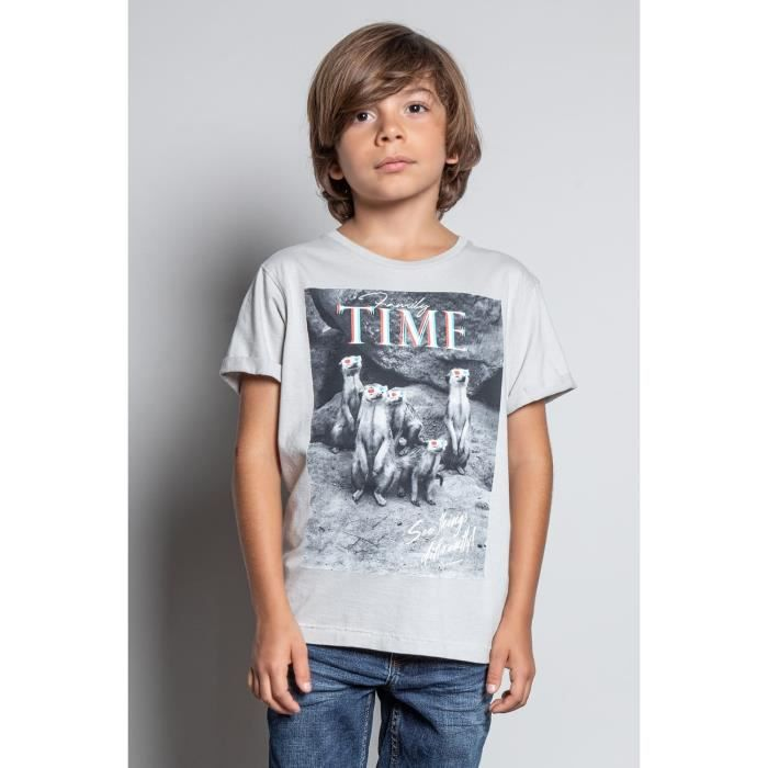 DEELUXE T-shirt avec photo SURICATE Light Grey