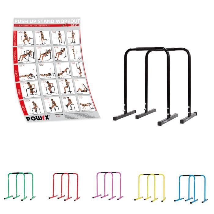 Dip Barren (Paire) y compris Workout I Push Up Stand Bar différentes couleurs et tailles Couleur: Noir, Taille: