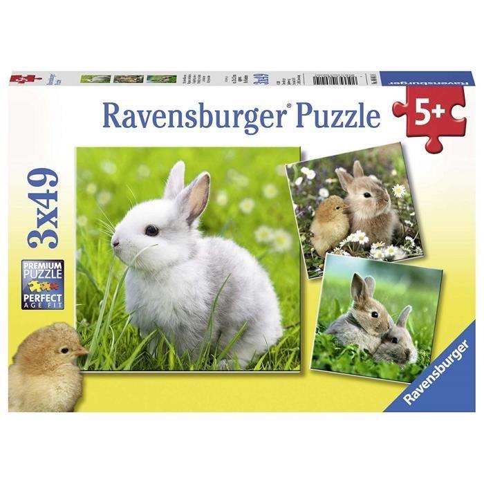 Ravensburger - 3 49 pièces Mignons Petits, Puzzle, Casse Tete, Garcon, Enfants,Jouets Fille,Animaux, Jeux, Lapins, 40055560, Néant