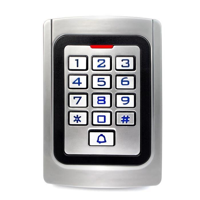 Retekess K10EM-W Digicode Clavier à Code Métal IP68 Contrôle d'Accès PIN 125KHz RFID Étanche Rétro-Éclairé Anti-Effraction Boutique