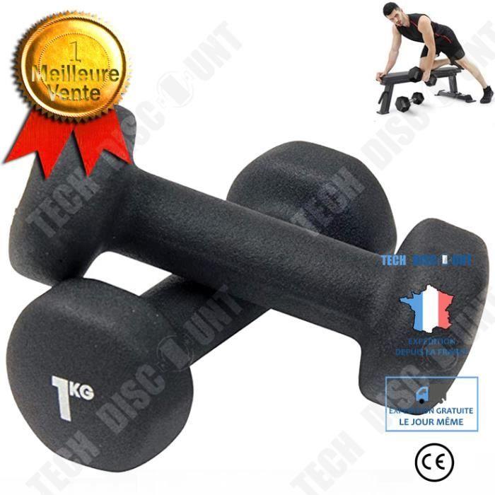 TD® 2 * 1 kg haltères musculation Équipement de remise en forme à domicile de formation de bras pour hommes d'haltères hexagonaux