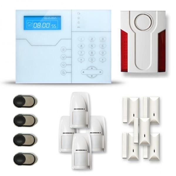 Alarme maison sans fil SHB 4 à 5 pièces mouvement + intrusion + sirène extérieure - Compatible Box internet et GSM