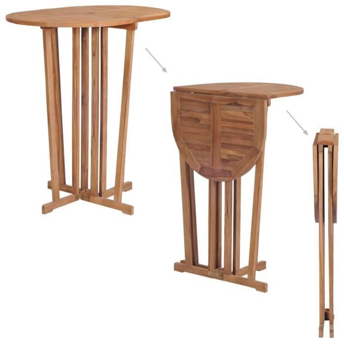 Table de bar pliable Bois de teck massif 100x65x105 cm - Brun - Meubles de jardin - Tables d'extérieur - Brun - Brun