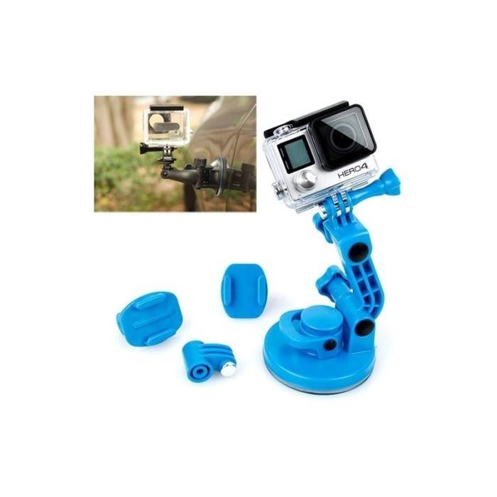 Support GoPro TMC voiture ventouse adaptateur trépied poignée à vis 4 3+ 3-2-1 Bleu
