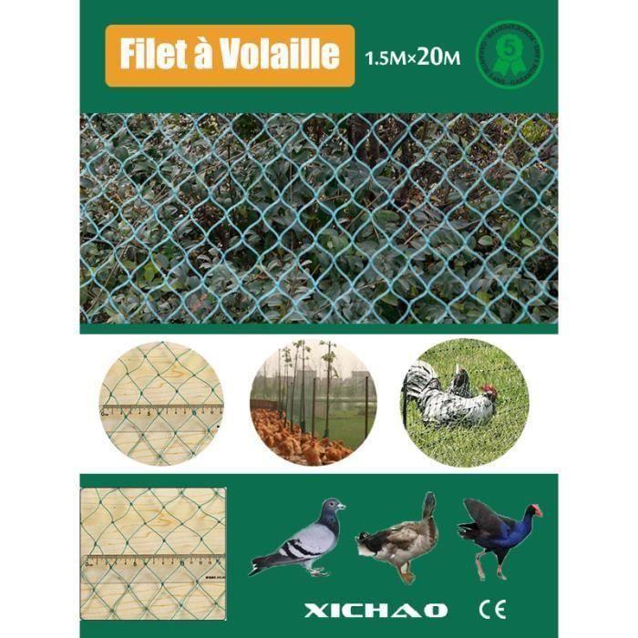 HK1-32975Filet à Volaille 20mX1.5m Filet de Protection Pour Poules Oies Dindons etc