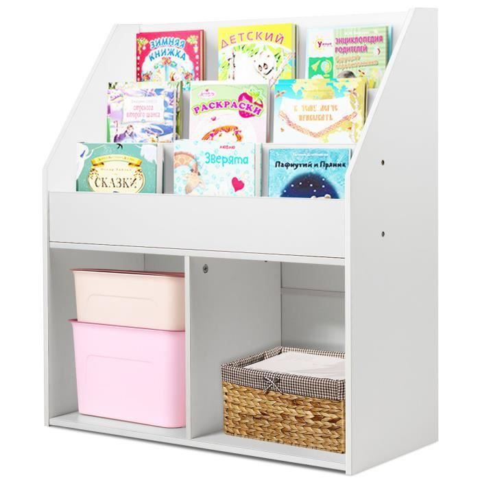 Costway Biblioth/èque de Rangement 90 x 29 x 90 cm Entr/ée Etc Id/éal pour Salon Cube de Rangement 4 Ouvert et 5 Ferm/é Gris Fonc/é Chambre