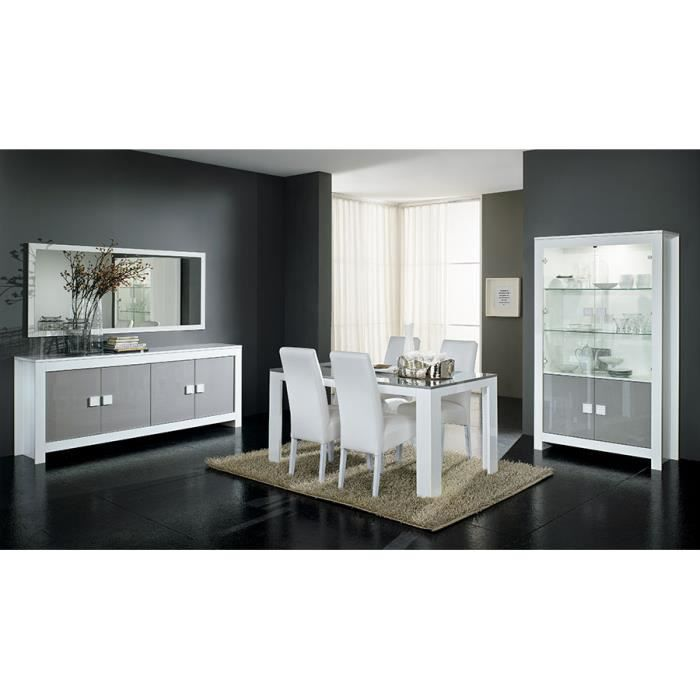 salle manger compl te blanc et gris laqu design mariela. Black Bedroom Furniture Sets. Home Design Ideas