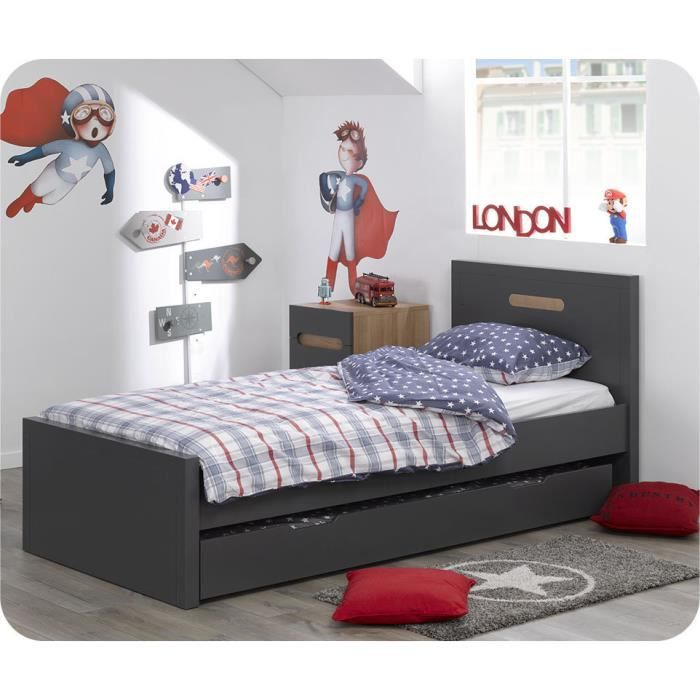 pack lit gigogne bow gris 90 200cm avec 2 matelas achat vente lit gigogne pack lit gigogne. Black Bedroom Furniture Sets. Home Design Ideas
