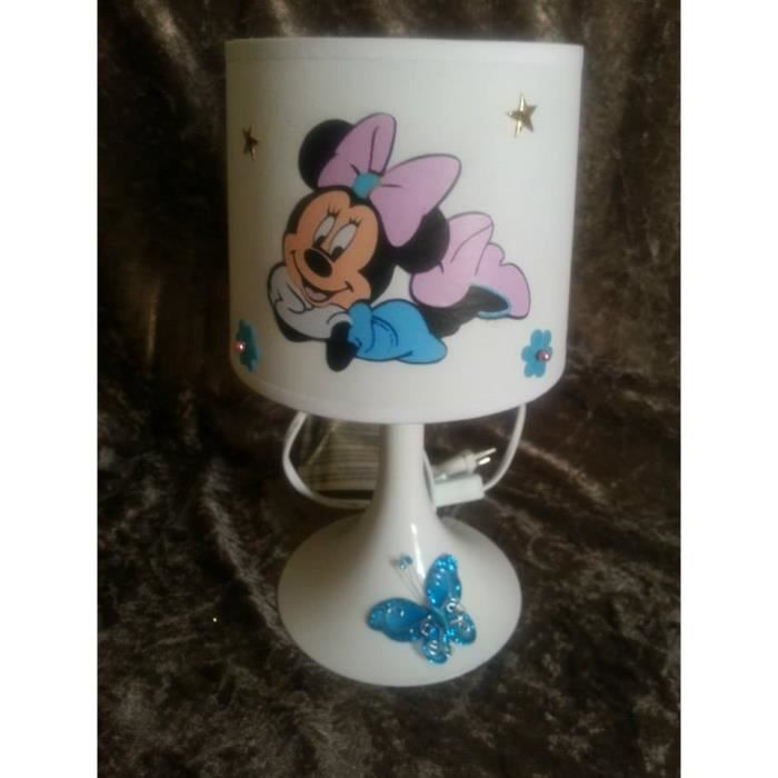 lampe de chevet minnie 3d papillon bleu achat vente. Black Bedroom Furniture Sets. Home Design Ideas