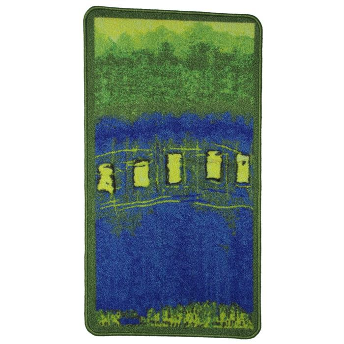 tapis d co moderne bleu vert 50x90 achat vente tapis cdiscount. Black Bedroom Furniture Sets. Home Design Ideas