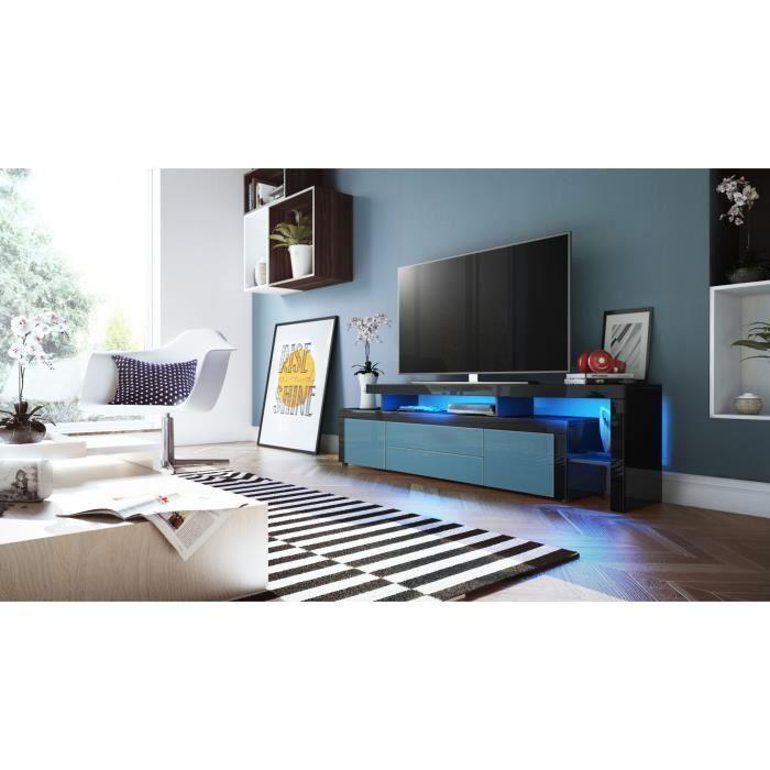 Meuble Tv Noir Bleu Pétrole Noir 6 Compartiments 193cm