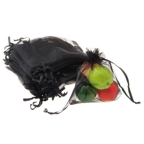 60x pochette sachet sac organza noir pr mariage achat vente pochette cadeau 60x pochette. Black Bedroom Furniture Sets. Home Design Ideas