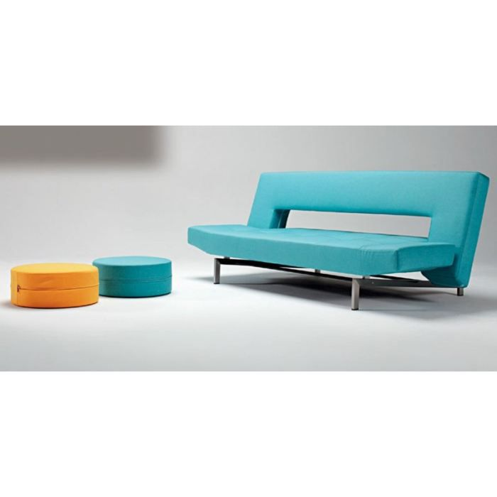 Canape lit design wing bleu convertible 200 110cm achat for Canape lit design