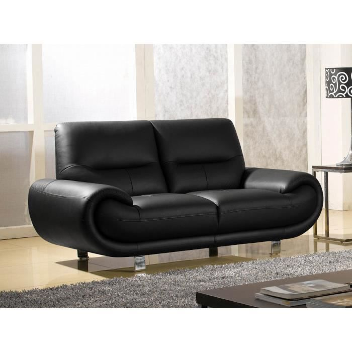 Canap 2 places luxe angie cuir noir design achat vente canap sofa divan cdiscount - Canape cuir luxe ...