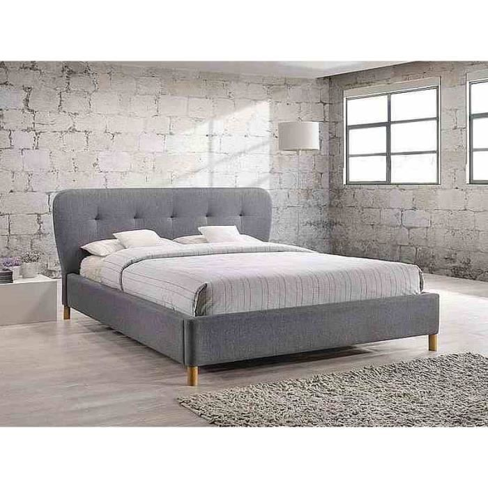lit bella style scandinave 160 x 200 cm tissu gris. Black Bedroom Furniture Sets. Home Design Ideas