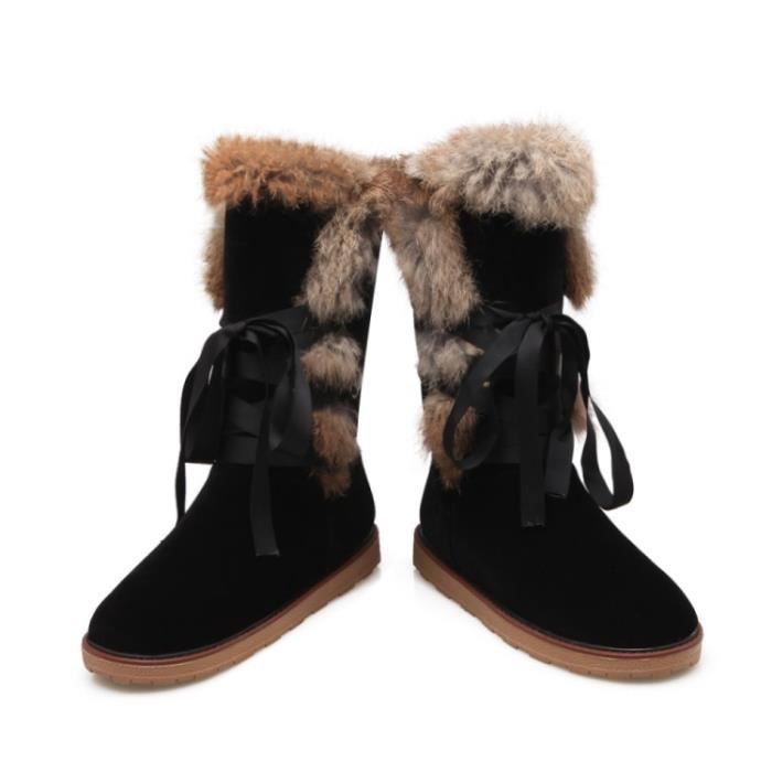 Neige Bottes Femmes Solide Suede Casual Noeud papillon