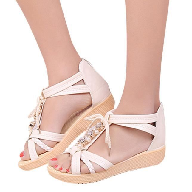 blanc chaussures filles plage pour avec d'été Sandales plates les noeud femmes doux 5ALR4j