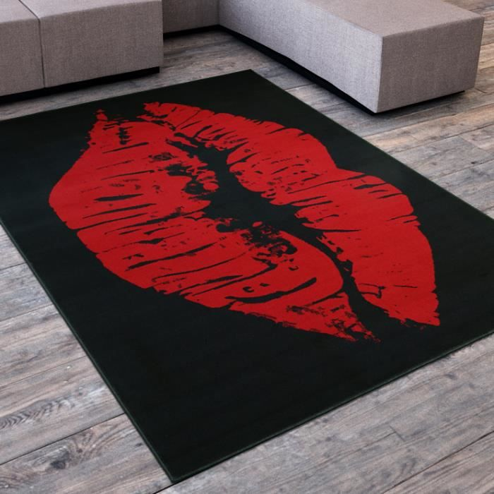 tapis salon levre bisous swag noir rouge universol achat vente tapis cdiscount. Black Bedroom Furniture Sets. Home Design Ideas