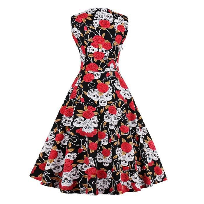 Womens Sleeveless Rosy Skull Swing Vintage Dress 2AYAGQ Taille-40