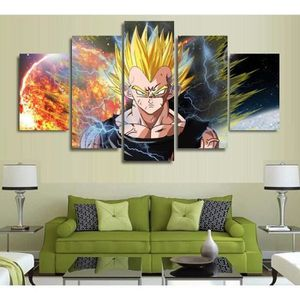 TABLEAU - TOILE 5 pièces Anime Cartoon Dragon Ball Z Goku Fighting