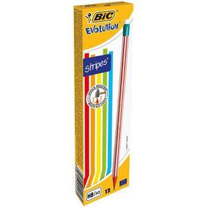 CRAYON GRAPHITE BIC Evolution Stripes avec Gomme Crayons à Papier