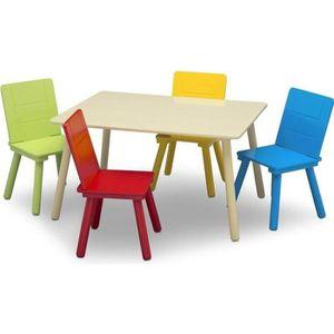 TABLE ET CHAISE DELTA KIDS Table enfant rectancgulaire beige + 4 c