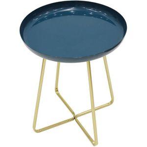 BOUT DE CANAPÉ Table d'appoint plateau rond glossy - Bleu - L 40