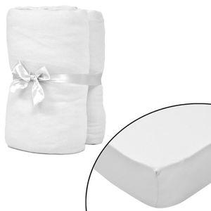 HOUSSE DE TÊTE DE LIT 2 draps-housses blancs en coton jersey 90 x 190 -