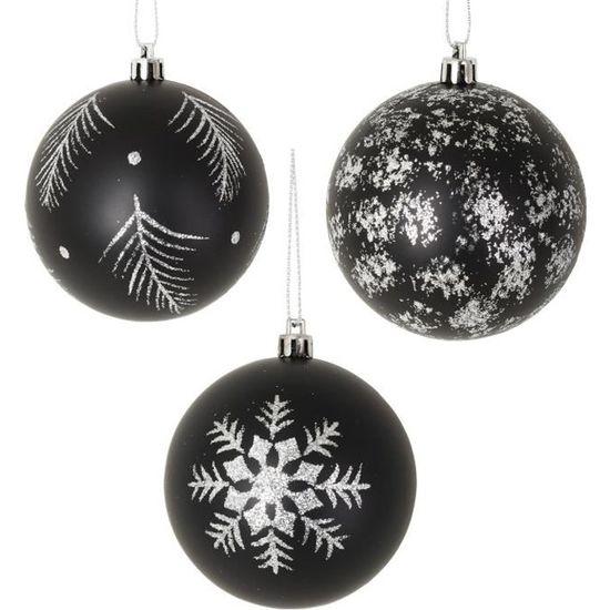 Lot De 3 Boules De Noel Noir Et Blanc