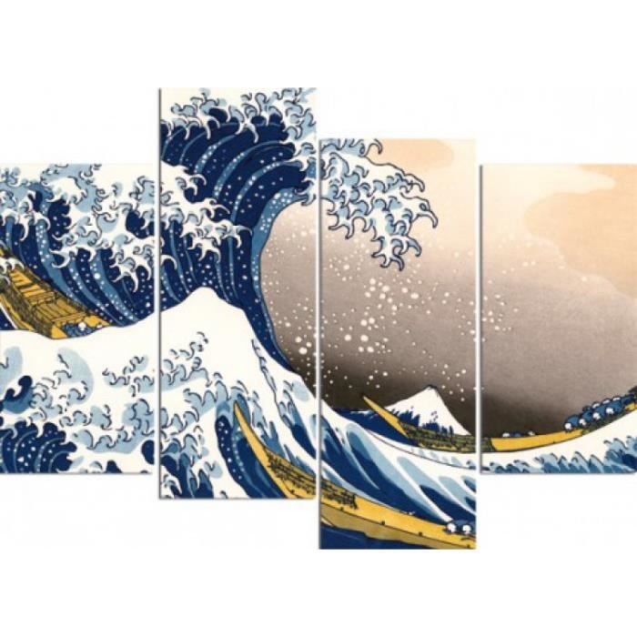 katsushika hokusai poster reproduction sur toil achat vente tableau toile cdiscount. Black Bedroom Furniture Sets. Home Design Ideas