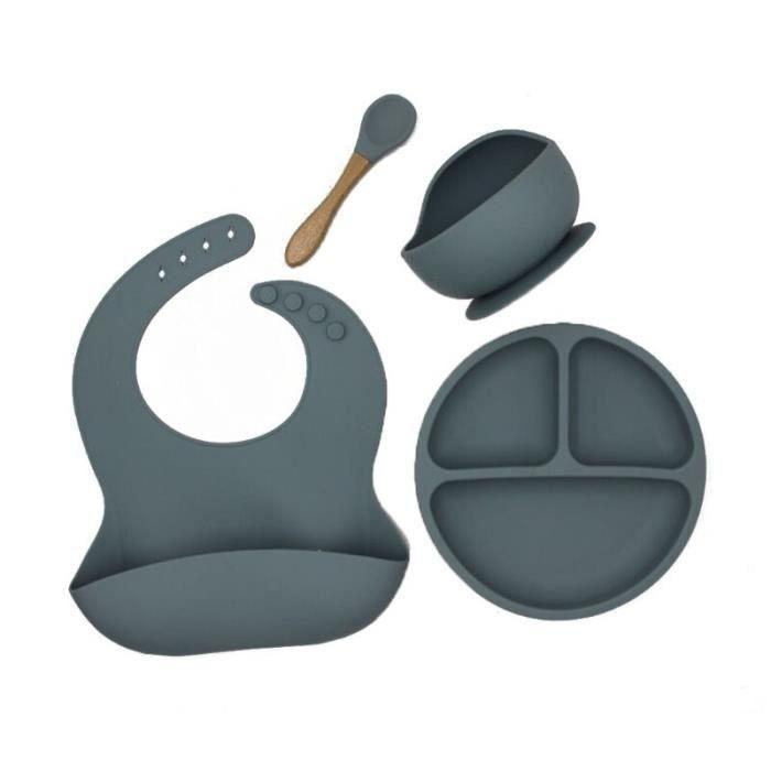 4 pièces-ensemble bébé Silicone vaisselle bavoir étanche dîner assiette ventouse bol cuillère [806B1CB]