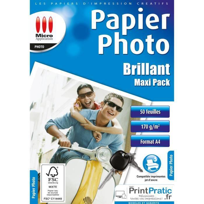 Papier Photo Brillant A4 - Maxi Pack - 170 g/m² - 50 Feuilles Micro Application