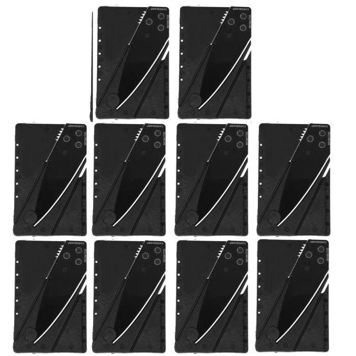 Outil de survie de carte de crédit de poche de camping de couteau multifonctionnel pliable extérieur de 10 pièces