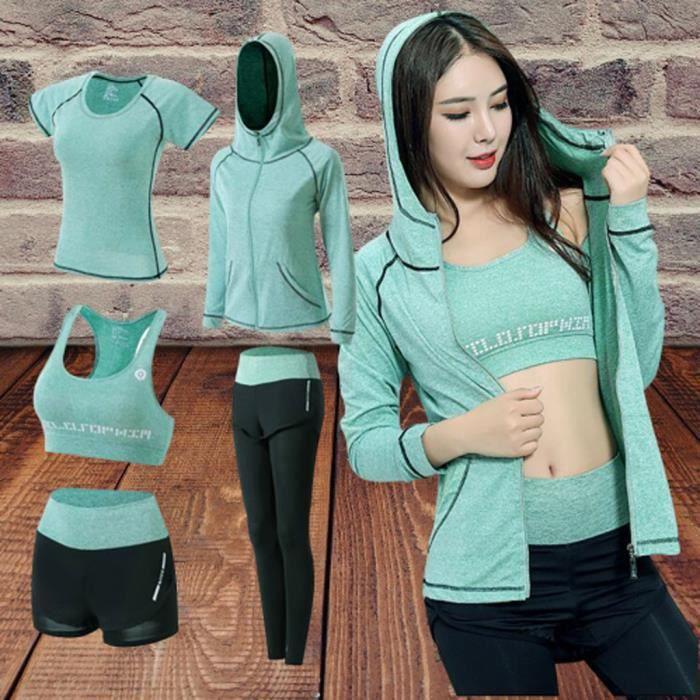 【HARNAIS DE TETE】5PCS Yoga Vêtements Costume Ensemble Survêtement Running Gym Hiver Fitness Vêtements Femmes - vert163