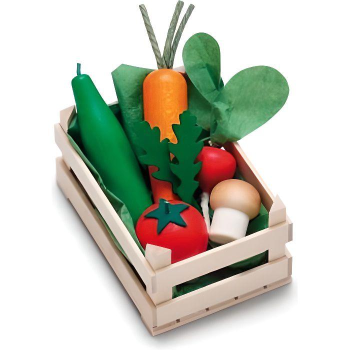 Petite cagette dassortiment de légumes en bois pour enfant - Erzi - 28241