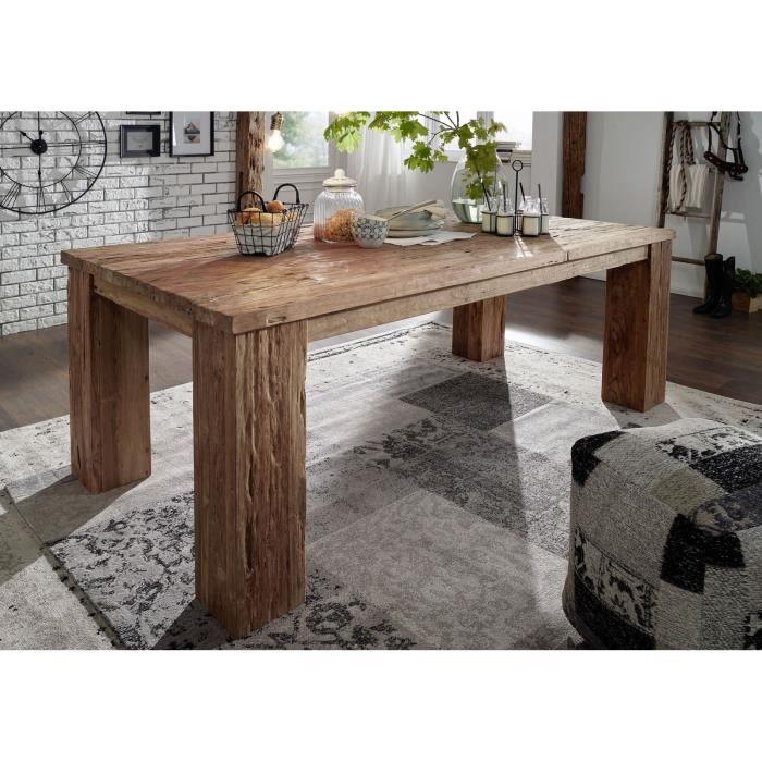 Table à manger 220x110cm - Bois massif recyclé de teck brut - Aspect naturel et rustique - BASSANO #102