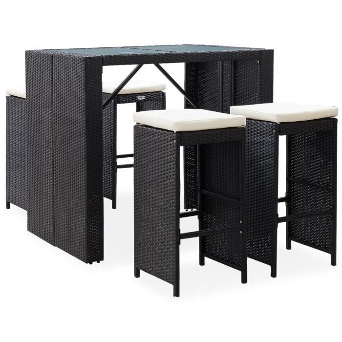 MAISON - Ensemble Table de bar + 4 tabourets bar Mange-Debout - Mobilier de bar d'extérieur 5 pcs Résine tressée et verre Noir Top -