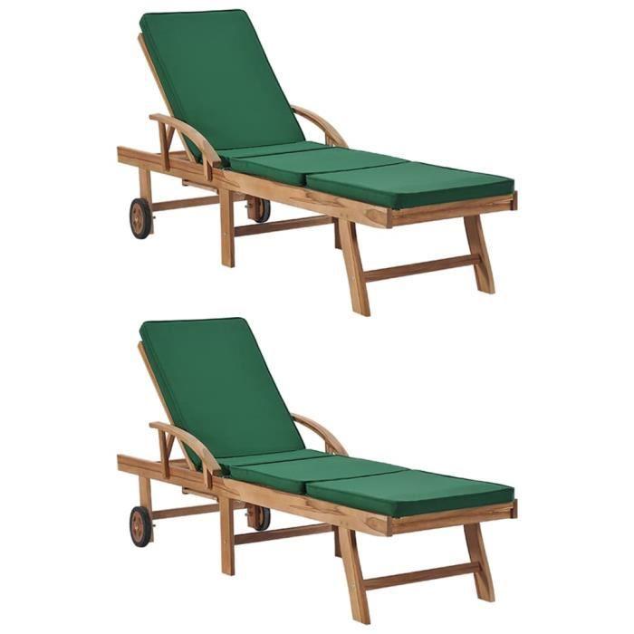 Chaises longues avec coussins 2 pcs Bains de soleil confortables jardin et piscine - Bois de teck solide Vert