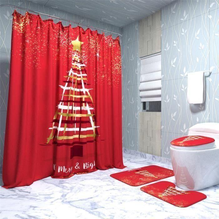 NEUFU KIT De Noël Rideau de Douche 180CM+3PCS Coussin de Siège Toilette Anti-Dérapant