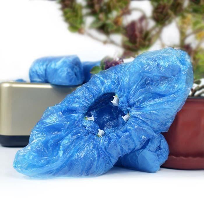 200 pièces PE couvre chaussures Machine couvre chaussures bleu jetable pratique et confortable modèle maison - Type Blue One Size