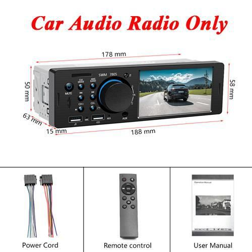 Hikity 4.1 pouces TFT 1 Din autoradio Audio stéréo Radio FM Bluetooth MP5 lecteur Support caméra de recul - Type Car Radio Only