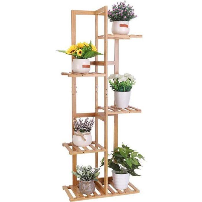 Étagère Plante en Bambou Porte Pot de Plantes Fleurs Extérieur Intérieur pour Maison Balcon Terrasse Jardin Café - 102x40x20.2cm