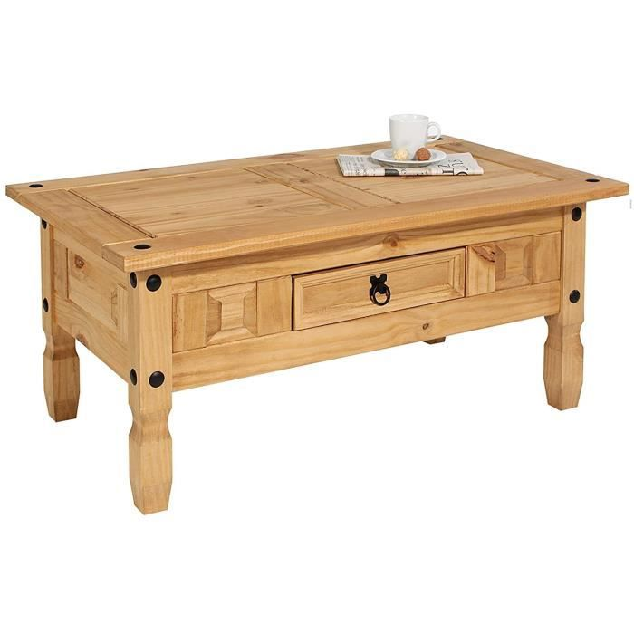 PETIT MEUBLE DE RANGEMENT IDIMEX Table Basse de Salon Salsa rectangulaire en Bois Style Mexicain avec 1 tiroir en pin Massif Fin1385