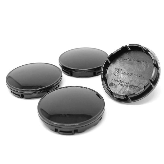 Finest Folia Lot de 4 couvercles en Plastique ABS 56 mm avec Capuchon en Aluminium Noir