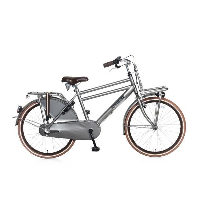 Vélo Fille Garçon Popal Daily Dutch Basic 24+ 24 Pouces Shimano Nexus 3 LED Phares Padlock Gris 95% Assemblé