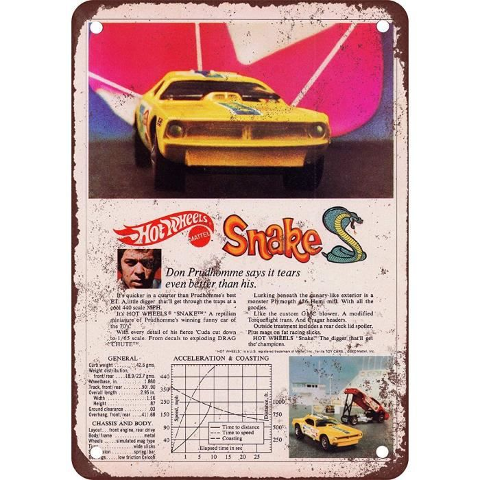OBJET DE DECORATION ECONG Hot Wheels Snake Enseigne Murale en Meacutetal Signes Deacutetain Suspendu Avertissement Vintage Ar790