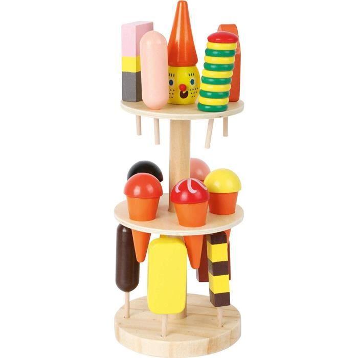 Commerçant Small Foot 5261 Marchande glacier en bois, accessoires pour magasin et cuisine enfant, avec 15 sortes, à par 60679