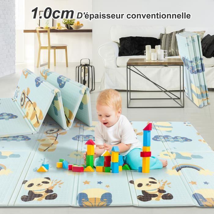 Tapis de jeux pour enfant Tapis de jeux bébé pliable double face imperméable à l'eau non toxique antidérapant 200x180x1 cm CAROMA