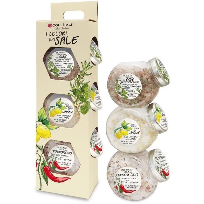 COLLITALI ESCAPADE 3 recettes : sel rose Himalaya & herbes 190 g, sel Sicile / zeste citron 215 g, pot sel piment 200 g